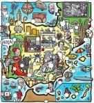 Mapa de Espana dibujos de famosos especialidades